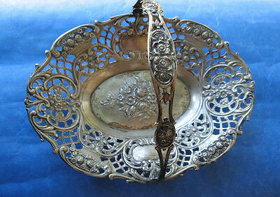 European Continental Repousse Floral Coin Silver Basket Dish Marked With 800