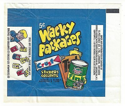 1974 Wacky Packages OPC (Canada) 4th Series 4 WAX PACK WRAPPER - BLUE