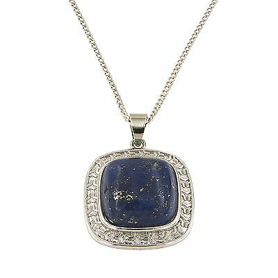 Dyed Lapiz Lazuli Cushion Cabochon 16 mm Brass Silver Color Finish Fashion Jewel