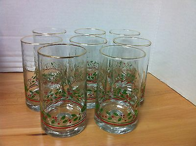 Set of 8 Vintage 1980's ARBY'S Christmas Holly Tumblers Iced Tea Glasses
