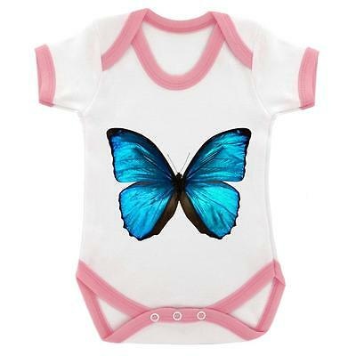Blue Butterfly Digitally Printed Baby Bodysuit White Pink Trim