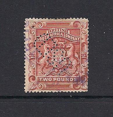"""Rhodesia 1892 £2 fiscally used spacefiller with perfin """"USED"""" see comments"""