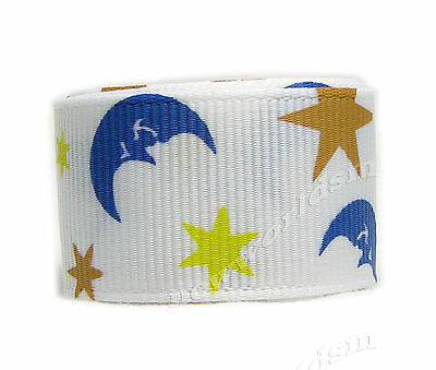 "6y 22mm 7/8"" White Moon Stars Premium Grosgrain Ribbon Gift Eco FREE PP"