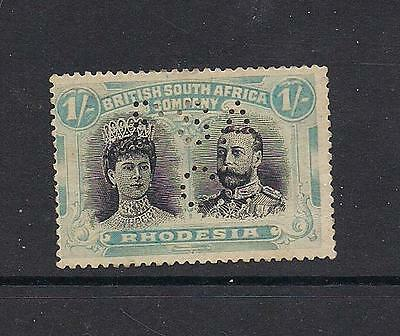 """Rhodesia 1910 1/- unused no gum with perfin """"BSAC"""" see comments"""