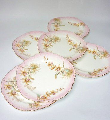 Aynsley antique Vintage China Pink Hand Painted Tea plates x 6 English
