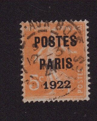 N°30 5 C Orange Preoblitere Poste Paris 1922 030