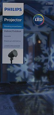 Philips LED Cool White Rotating Snowflake Projector Indoor/Outdoor NIB