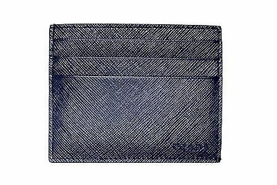 New In Box Authentic PRADA Blue Saffiano Leather Wallet Credit Card Holder