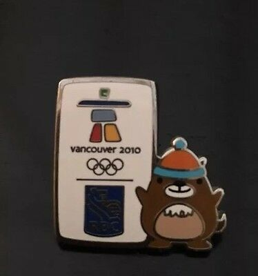 Vancouver 2010 Winter Olympic Games - Quatchi Mascot on a RBC Sponsor Pin Badge