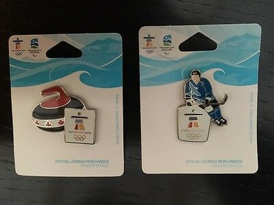 Vancouver 2010 Winter Olympics - Set Of 2 x Pins - Ice Hockey & Curling - VGC