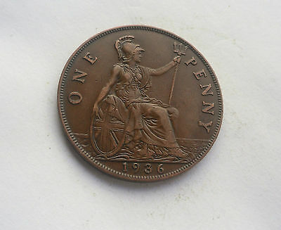 1936 Penny, George V. in Good Condition.