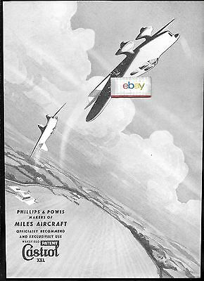 Castrol Oil Company Phillips & Powis Miles Aircraft 1937 Ad