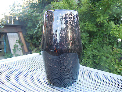 Early STRATHEARN GLASS BARREL SHAPE .VASE SALMON PONTIL BLACK. WITH GOLD FLECK