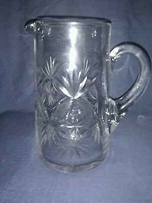 Antique Handmade Hand Blown Wheel Cut Clear Glass Jug.