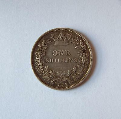 Nice Queen Victoria Silver Shilling Coin 1877 Die 40