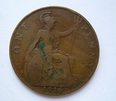 One Penny 1916. Original British coin. George V. B1538