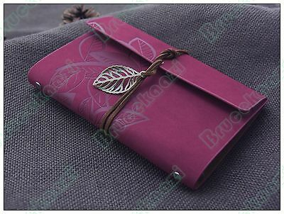 7x5 Refillable Journals Sketchbook Travel Diary Leaves Leather Notebook Rosy Red