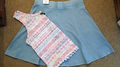 Bnwt Girls Age 14 Years Powder Blue Skater Style Skirt & Matching Top