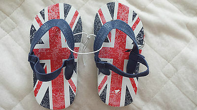 Bnwt Boys-Girls Size 7 Union Jack Print Flip Flops With Elasticated Back Strap
