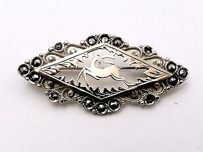 Silver Brooch  with Marcasites  Gilt Stag  900 silver  diamond shape