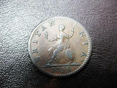 Coins George 11 Farthing Dated 1754 In Good Vf Condition