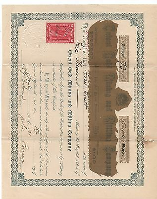 1901 Stock Certificate for 5000 Shares in the Orient Gold Mining & Milling Co WA