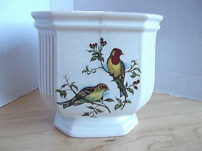 ROYAL WINTON CHINA SQUARE PLANT POT HOLDER - Decorated with birds