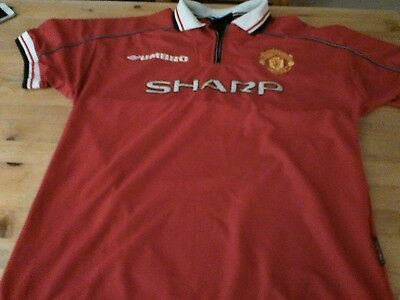 Rare MANCHESTER UNITED SHARP UMBRO HOME SHIRT LARGE IN GOOD CONDITION FOR AGE