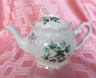 Crown Dorset Teapot With Roses & Ivy Staffordshire Made In England