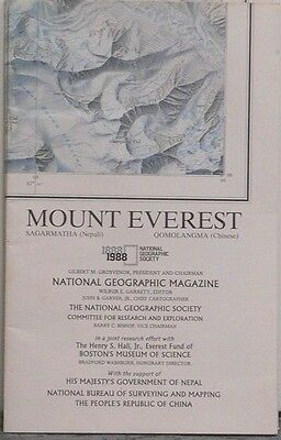 1988 National Geographic Map of Mount Everest