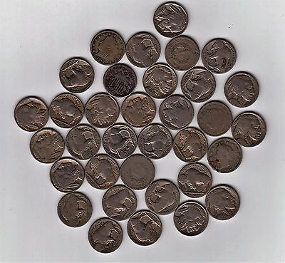 Lot of ( 34 ) INDIAN BUFFALO V US NICKEL 5 CENT BARBER ECT. Coins