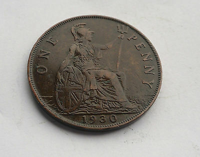 1930 Penny, George V. in Good Condition.