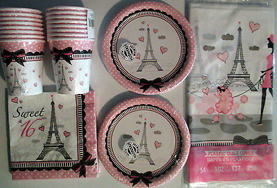 PARTY IN PARIS - Birthday Party Supply Set Pack Kit SWEET 16 !