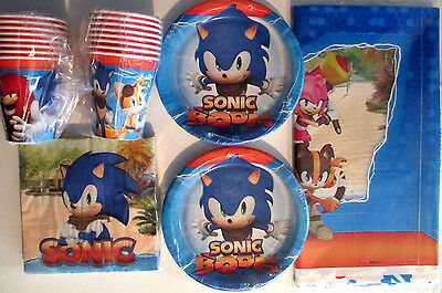 SONIC BOOM ! Sonic The Hedgehog Birthday Party Supply Pack Kit w/ Stickers
