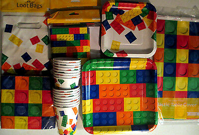 BLOCK PARTY LEGO Birthday Party Supply Pack SUPER KIT w/ Invites and Loot Bags