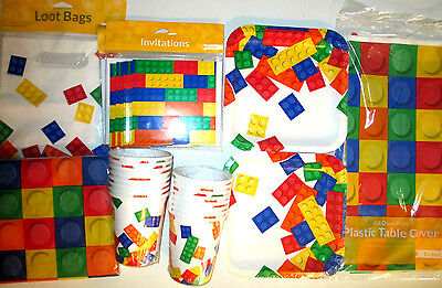 BLOCK PARTY LEGO - Birthday Party Supply DELUXE Kit w/ Loot Bags & Invitations