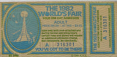 Unused Adult Ticket to the 1982 Knoxville World's Fair