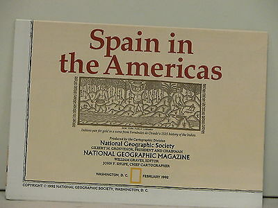 Vintage 1992 National Geographic Poster Spain in the Americas