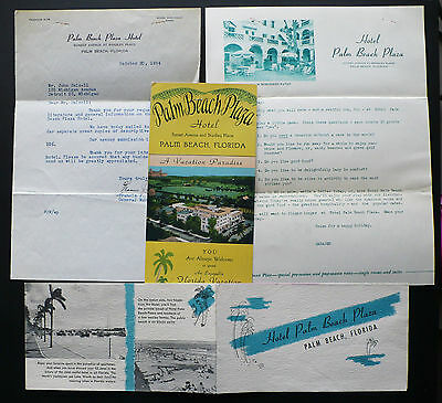 1954 Palm Beach Plaza Hotel FL 2 Brochures & Letter Sgd. by the General Manager