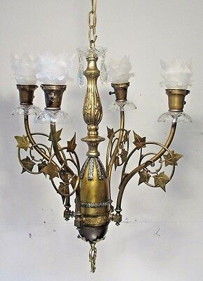Antique Vintage Chandelier Grand Fixture Scrolled Light Glass Shades Pandent.