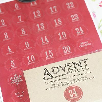 East of India Vintage Style Advent Set 24 Envelopes / Stickers Christmas