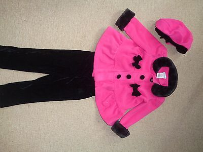 Girl pink coat and matching hat and pants 18-24