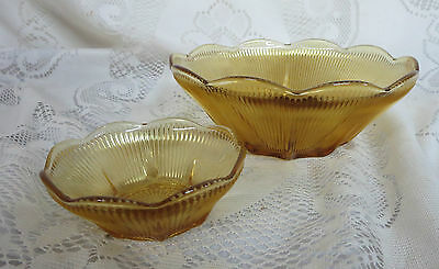 Vintage Gold Ribbed Glass Chip & Dip Bowls