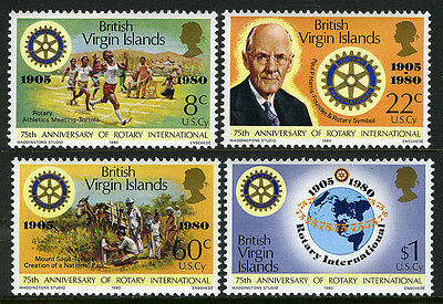 Virgin Islands 381-384, MNH. Rotary Intl. 75th anniv. Harris,Horse,Emblem, 1980