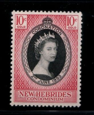 BRITISH NEW HEBRIDES Coronation of Queen Elizabeth II MNH stamp