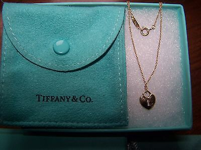 New Tiffany & Co Ladies Heart Pendant/necklace In 18 Carat Yellow Gold