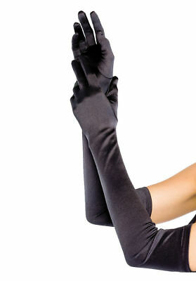 Womens Elbow Long Satin Gloves Formal Adult Halloween Costume Accessory