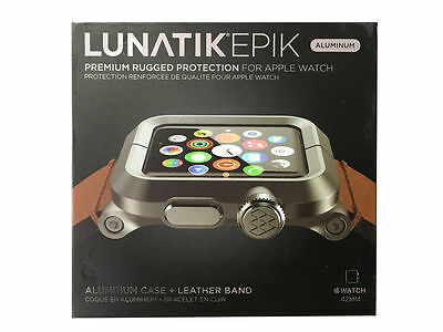 LUNATIK EPIK-012 - Black Aluminum & Brown Leather Band for Apple Watch 42mm