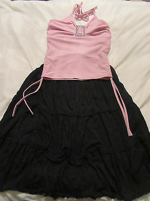 Girls Party Outfit 7/8yrs Next Long Black Skirt+Pink Halter Neck Top