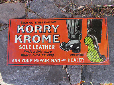 Antique Tin Litho KORRY KROME Shoe sole Leather Advertising  Sign GREAT GRAPHICS